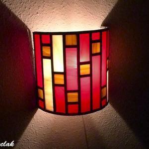 Applique murale vitrail demi cylindre art deco rouge et beige 11 1