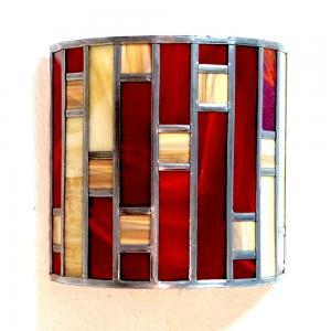Applique murale vitrail demi cylindre art deco rouge et beige 12 1