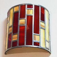 Applique murale vitrail demi cylindre art deco rouge et beige 14 1