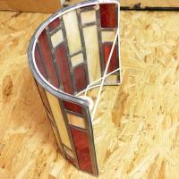 Applique murale vitrail demi cylindre art deco rouge et beige 16