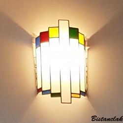 Applique murale vitrail demi cylindre tendance art deco blanc et multicolore 1