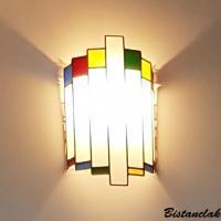 Applique murale vitrail demi cylindre tendance art deco blanc et multicolore