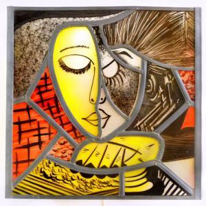 Applique murale vitrail jaune rouge et noir la liseuse inspiration picasso 1 3