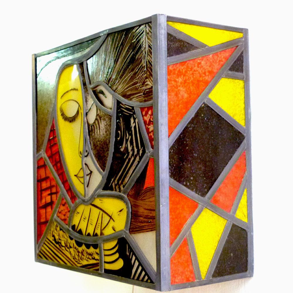 Applique murale vitrail jaune rouge et noir la liseuse inspiration picasso 2 2