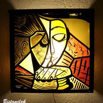 Applique murale vitrail abstraite