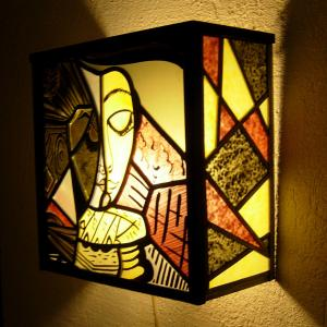 Applique murale vitrail jaune rouge et noir la liseuse inspiration picasso 6 1