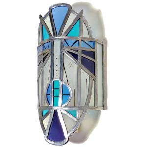 Applique murale vitrail masque ethnique bleu et violet 1 1