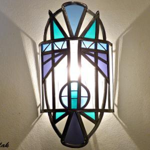 Applique murale vitrail masque ethnique bleu et violet 3 1