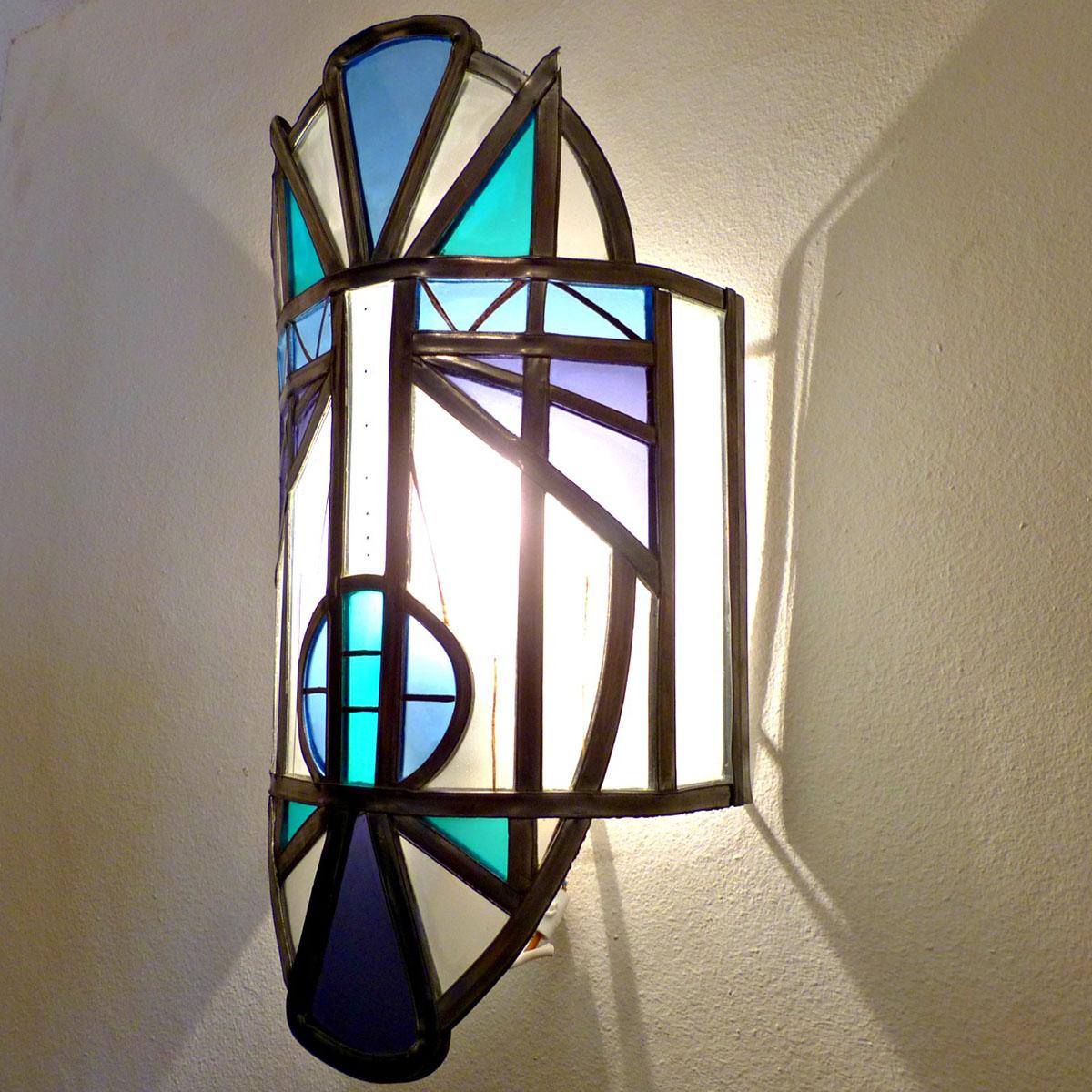 Applique murale vitrail masque ethnique bleu et violet 4 1