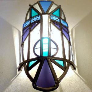 Applique murale vitrail masque ethnique bleu et violet 5 1