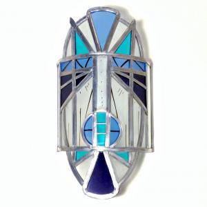 Applique murale vitrail masque ethnique bleu et violet 6 1