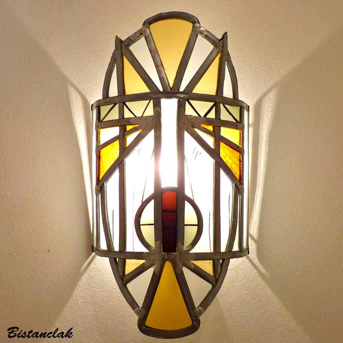 Applique murale vitrail masque ethnique jaune et orange 1 1
