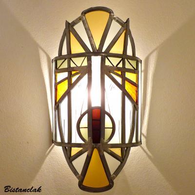 Luminaire applique vitrail Masque africain jaune et orange