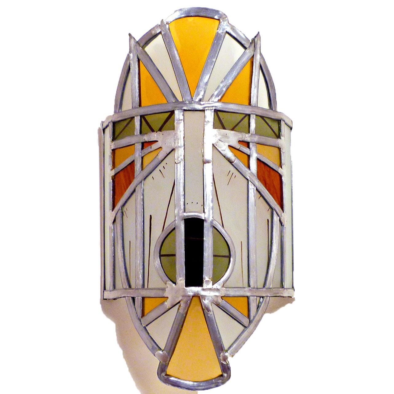 applique vitrail masque africain jaune et orange. Black Bedroom Furniture Sets. Home Design Ideas