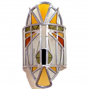 Applique murale vitrail masque ethnique jaune et orange 2 1