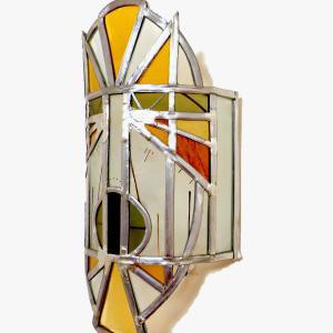 Applique murale vitrail masque ethnique jaune et orange 3 1