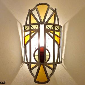 Applique murale vitrail masque ethnique jaune et orange 5 1