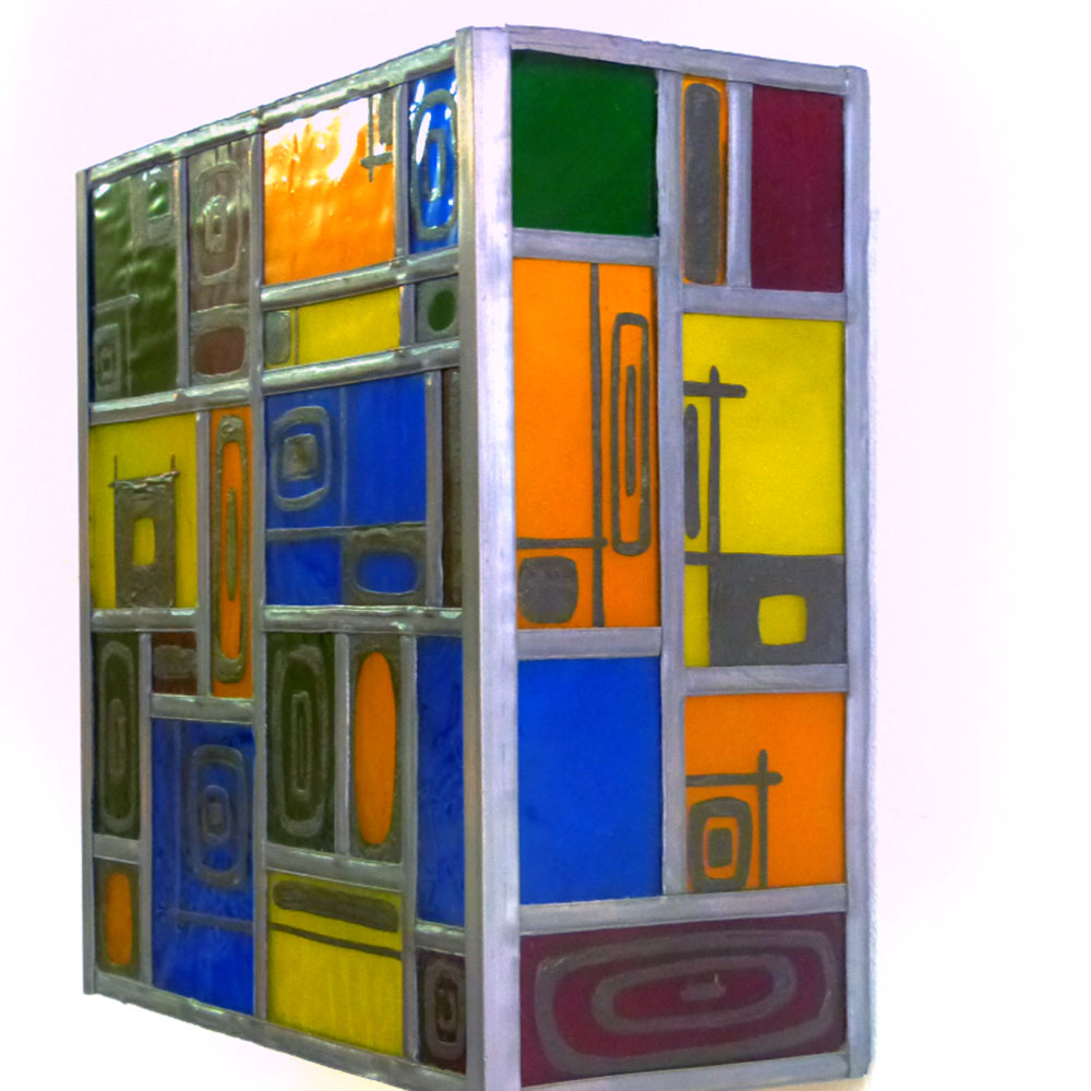 Applique murale vitrail multicolore et carres noir 2 1