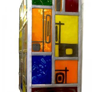 Applique murale vitrail multicolore et carres noir 4 1