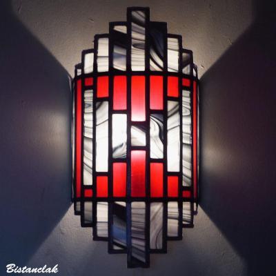 Applique vitrail Art Déco couleur rouge et gris