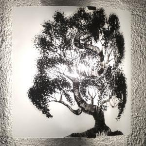 Applique noir blanc motif bonsai