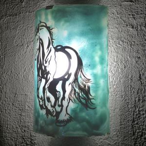 Applique vert turquoise cheval cabre