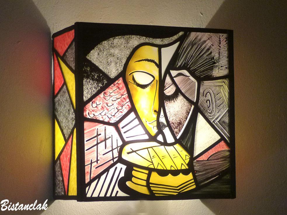 Applique vitrail abstraite inspiration picasso creation par bistanclak