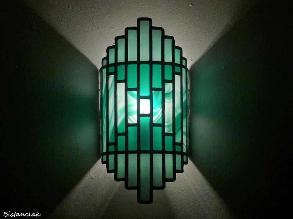 Applique vitrail artisanale verte