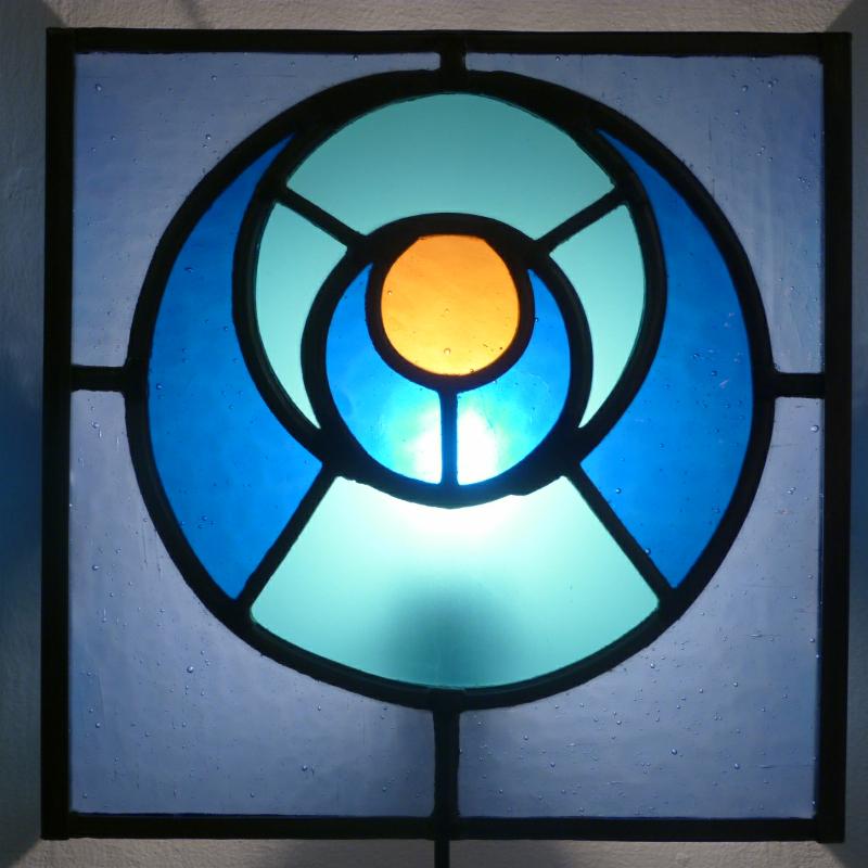Applique vitrail bleu orange cercle dans le cercle 5
