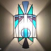 Applique vitrail bleu turquoise et violet creation artisanale