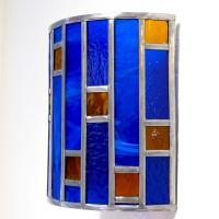 Applique vitrail demi cylindre bleu cobalt et ambre tendance art deco 11 1