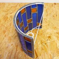 Applique vitrail demi cylindre bleu cobalt et ambre tendance art deco 12