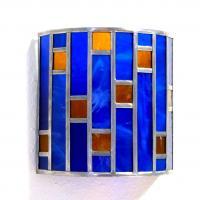 Applique vitrail demi cylindre bleu cobalt et ambre tendance art deco 13 1