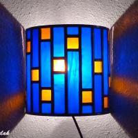 Applique vitrail demi cylindre bleu cobalt et ambre tendance art deco 14 1