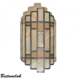 Applique vitrail demi cylindre de couleur champagne rose vendue en ligne sur notre site
