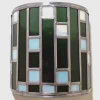 Applique vitrail demi cylindre noir et blanc tendance art deco 1 1