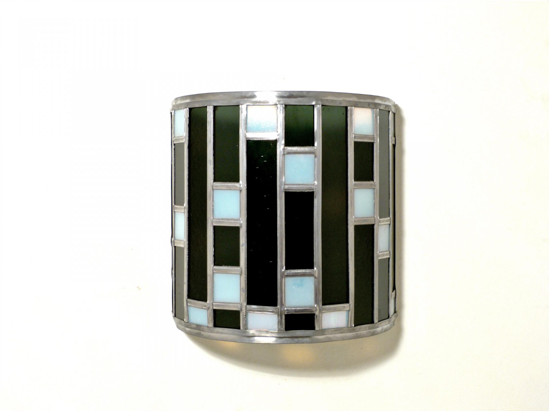 Applique vitrail demi cylindre noir et blanc tendance art deco 2