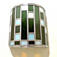 Applique vitrail demi cylindre noir et blanc tendance art deco 4