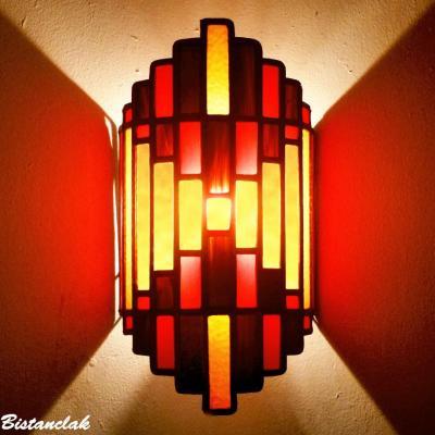 Applique vitrail Art Déco couleur ambre, rouge et chocolat