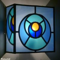 Applique vitrail design geometrique cercles bleu turquoise et orange