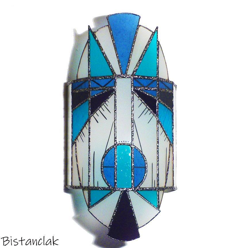 Applique vitrail masque bleu turquoise et violet
