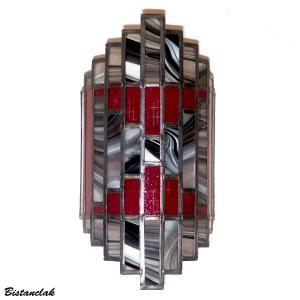 Applique vitrail rouge noire et blanche style art deco