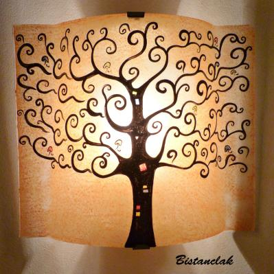 applique artisanale motif arbre de vie couleur sable
