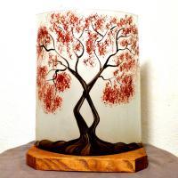 Lampe d'ambiance motif arbre au feuillage rouge