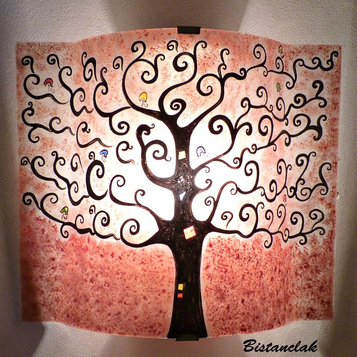 applique décorative artisanale rouge motif Arbre vie