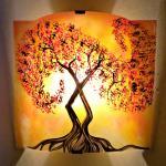 applique murale orange Arbre volute rouge