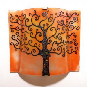 applique luminaire décoratif motif arbre de vie orange