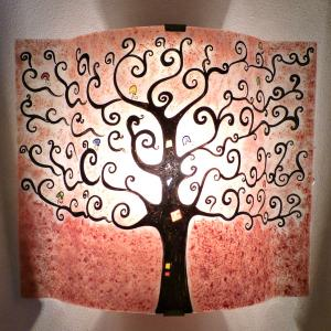 lampe applique décorative motif arbre de vie rouge