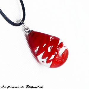 Bijou artisanal en verre file goutte de verre avec une spirale rouge 1