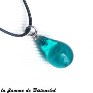 Bijou artisanal en verre file goutte de verre bleu canard transparente